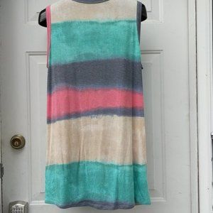 Tops - TIE DYE Tank with Side Twist Knot Yellow Green 1X